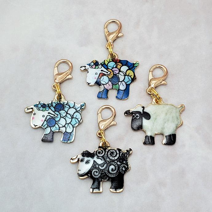 Sheep Stitch Markers for Knitting, 4 pc Enamel Swirl | Crochet stitch marker,