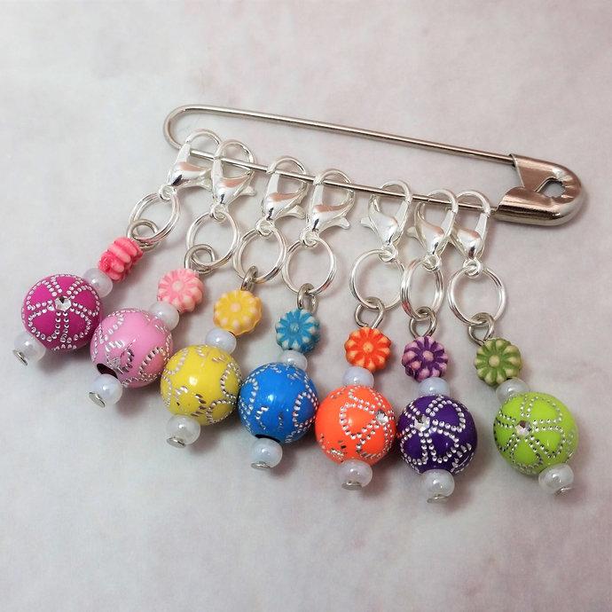 Stitch Markers for Knitting 7pc flower | Crochet stitch marker, progress keeper,