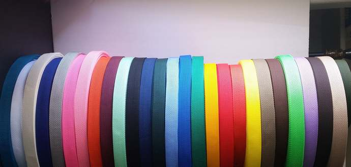 "1"" Webbing, 1 and 5 yards, 30 colors, lightweight Polypropylene for keyfob"