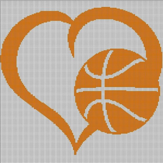 LOVE BASKETBALL CROCHET AFGHAN PATTERN GRAPH