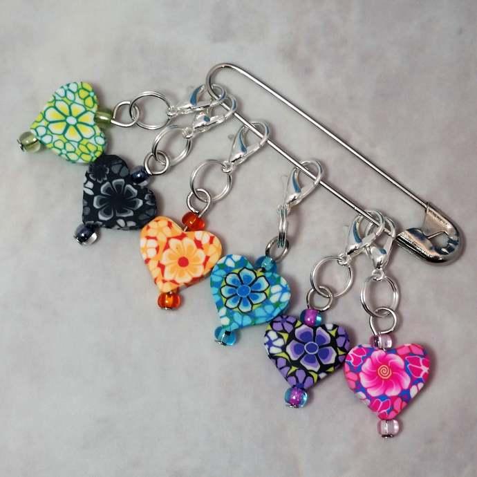 Stitch Markers for Knitting 6pc Hearts | Crochet stitch marker, progress keeper,
