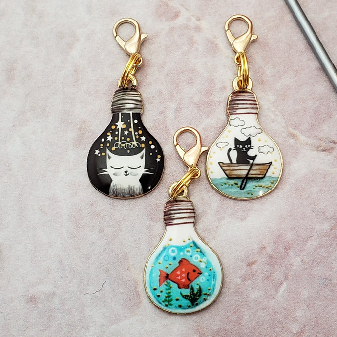 Cat Stitch Markers for Knitting, 3pc bulb | Crochet stitch marker, progress