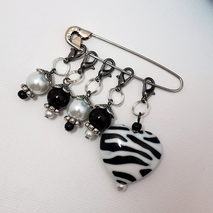 Crochet Stitch Markers, Zebra heart, 5 pc set | stitch marker for knitting