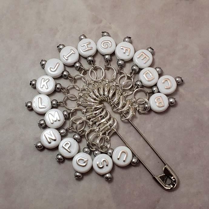 Crochet hook size reminder stitch marker, large bead, white/silver   crochet