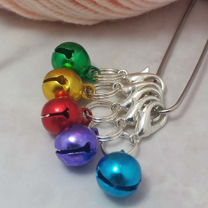 Colorful Stitch Markers for knitting and crochet, 5pc rainbow bells | Crochet