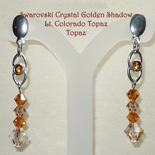 Swarovski Golden Shadow & Topaz .925 Earrings