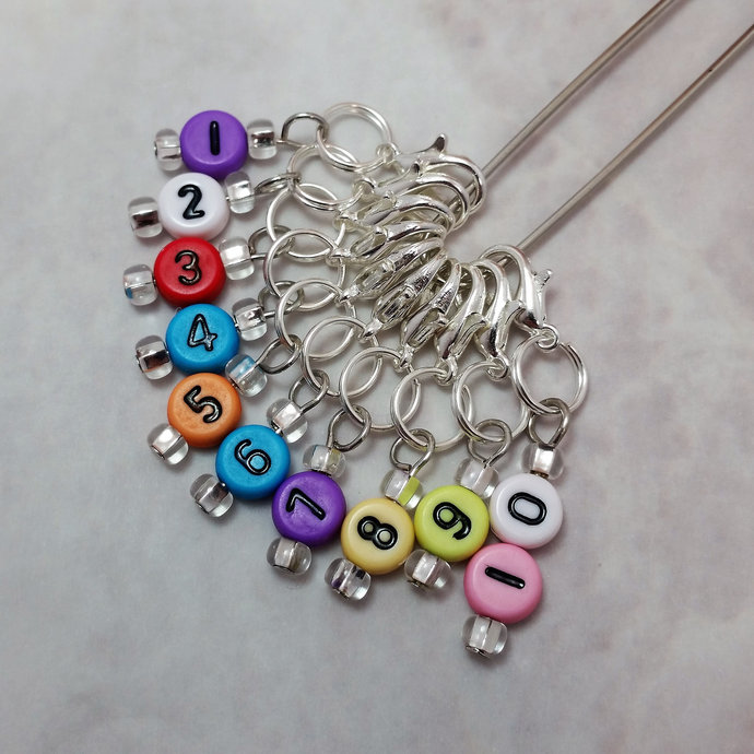 Number Stitch Marker, solid rainbow | knitting row counter, crochet hook marker,