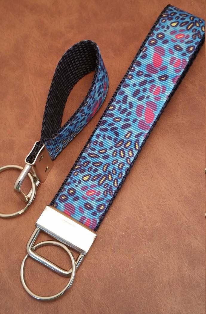 Key fob wristlet keychain, blue cheetah animal print | unique cool mini keyfob