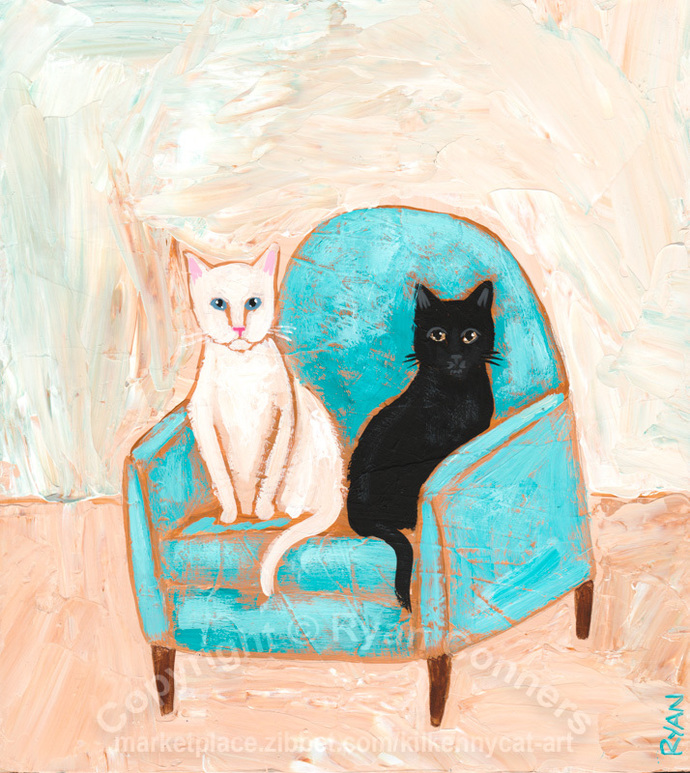 The Turquoise Chair Original Cat Folk Art Painting