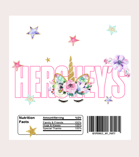 Read Description -Instant Download - Unicorn Hershey Labels - Digital File -