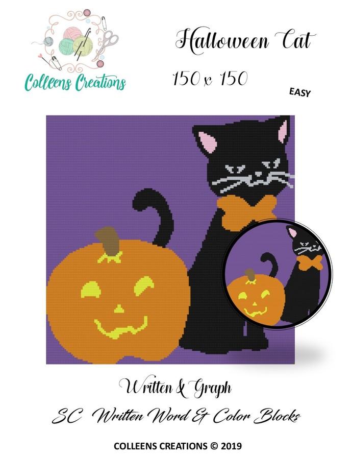 Halloween Cat Crochet Written & Graph Design
