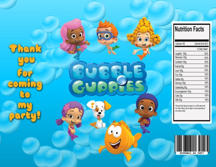 Read Description -Instant Download - Bubble Guppies Chip Bag - Digital File -