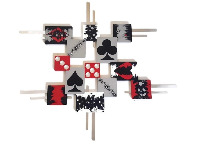 The Game wall art, Cards & Dice abstract sculpture, Wood and Metal Wall