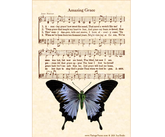 AMAZING GRACE Vintage Verses 5x7 Sheet Music Wall Art DIY Print It Yourself