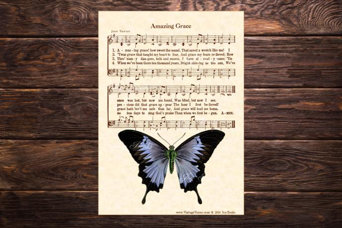 AMAZING GRACE Vintage Verses 5x7 Sheet Music Wall Art DIY Print It Yourself