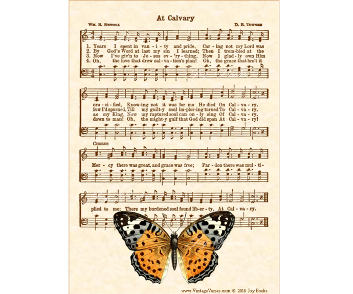 AT CALVARY Vintage Verses 5x7 Sheet Music Wall Art DIY Print It Yourself Antique