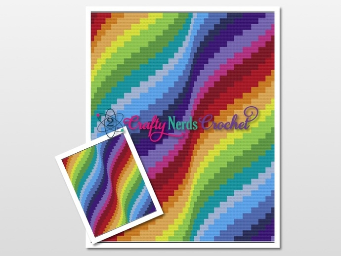 Bargello Rainbow Waves Pattern Graph With Mini C2C Written