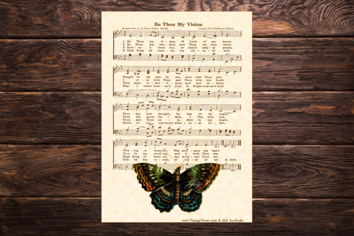 BE THOU MY VISION Vintage Verses 5x7 Sheet Music Wall Art DIY Print It Yourself