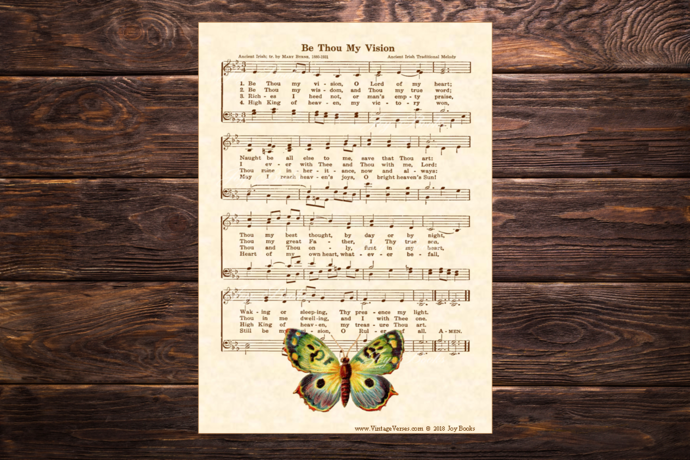 BE THOU MY VISION Vintage Verses 5x7 Sheet Music Wall Art DIY Print It Yourself