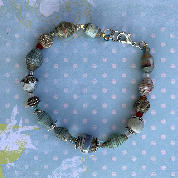 Powder Blue and Silver, beaded charms bracelet 2125