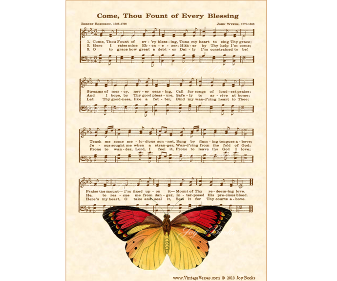 COME, THOU FOUNT Vintage Verses 5x7 Sheet Music Wall Art DIY Print It Yourself