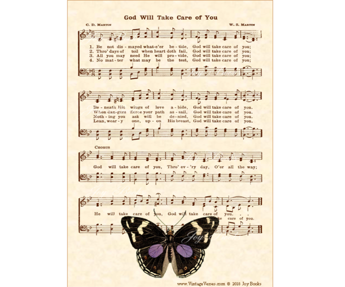 GOD WILL TAKE CARE OF YOU Vintage Verses DIY Print Yourself 5x7 Sheet Music Wall
