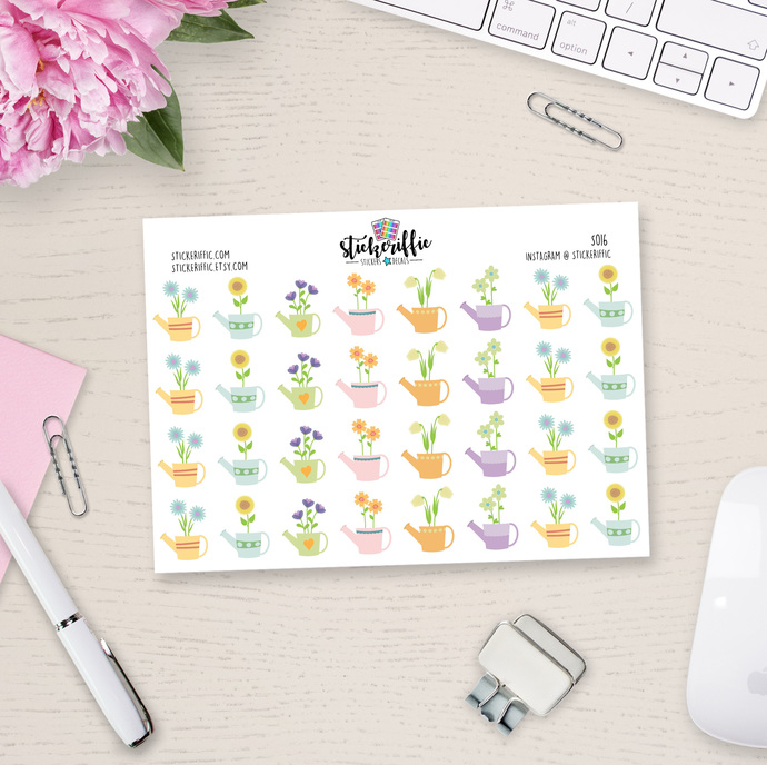 Flowers in Watering Cans Stickers - S016