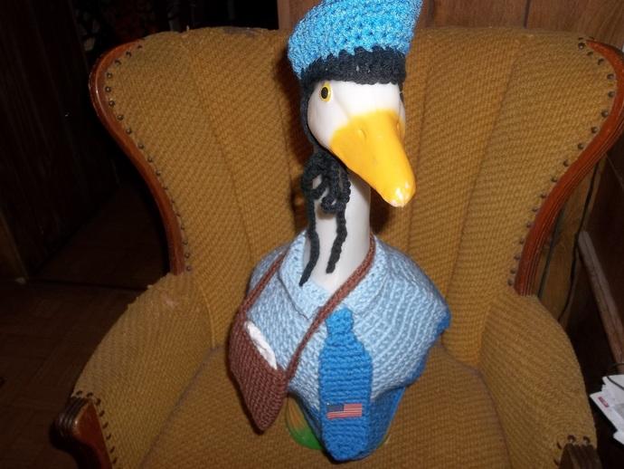 Mailman Geese Goose Outfit Crochet Outdoor Statue Clothes Garden Decor Patio