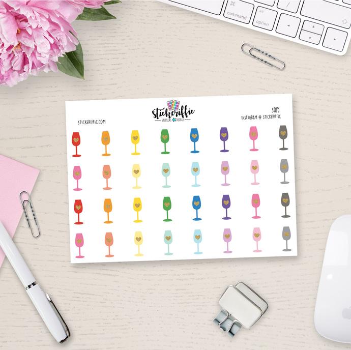 Wine Glass Stickers - Rainbow - S015