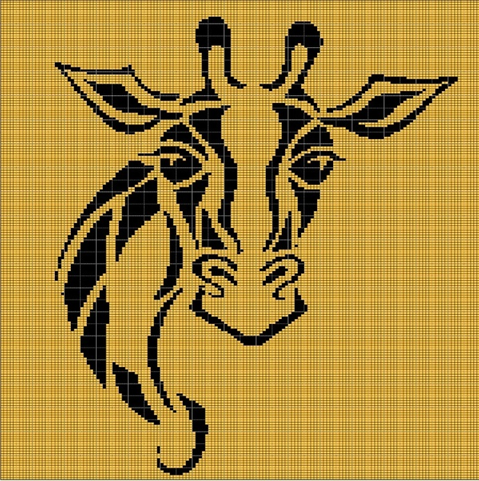 BLACK-YELLOW GIRAFFE HEAD CROCHET AFGHAN PATTERN GRAPH