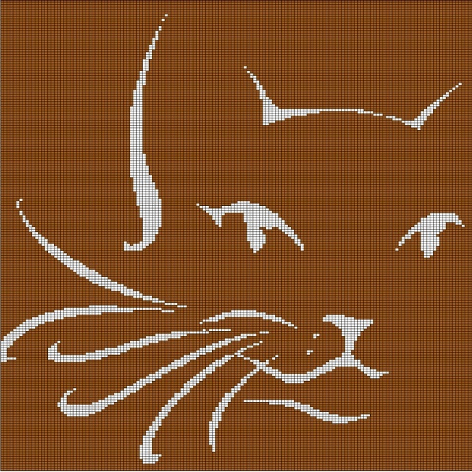 BROWN CAT HEAD CROCHET AFGHAN PATTERN GRAPH