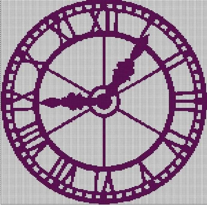 CLOCK CROCHET AFGHAN PATTERN GRAPH