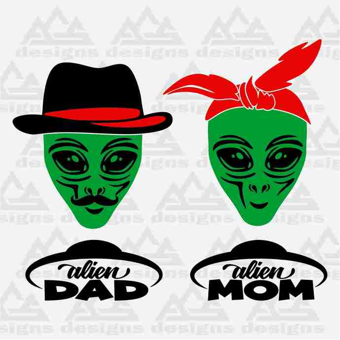 Alien Mom & Dad Svg Png Dxf & Eps Designs Cameo File Silhouette