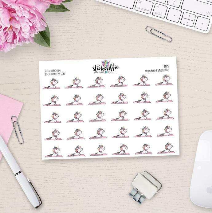 Unicorn Yoga Stickers - S019
