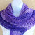 Shawlette, crocheted, Grape Swirl Color Stripes soft acrylic yarn