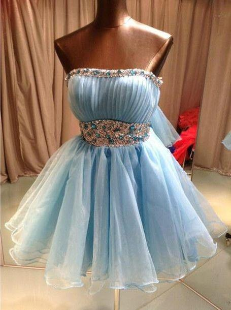 Sky Blue Beading Homecoming Dress,Sexy Party Dress,Charming Homecoming