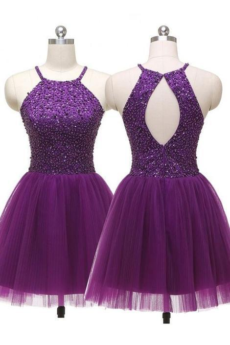 Sexy Jewel Straps Sleeveless Open Back Purple Homecoming Dress Sequins,