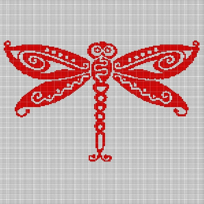 RED DRAGONFLY CROCHET AFGHAN PATTERN GRAPH