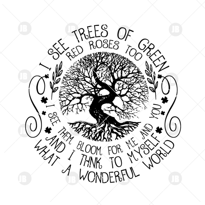 I See Trees Of Green Red Roses Digital Cut Files Svg, Dxf, Eps, Png, Cricut