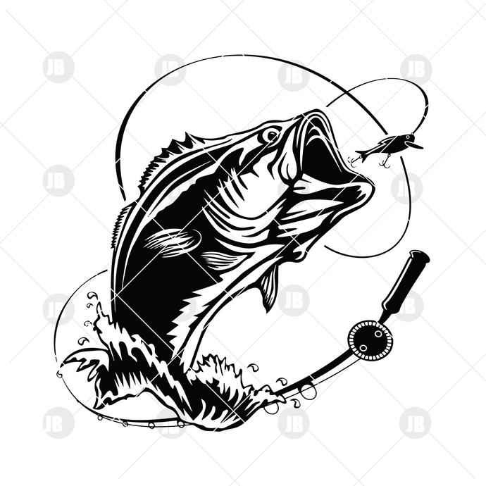 Fishing Digital Cut Files Svg, Dxf, Eps, Png, Cricut Vector, Digital Cut Files