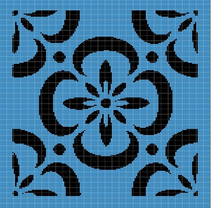 BLACK AND BLUE FLOWER TAPESTRY STYLE CROCHET AFGHAN PATTERN GRAPH