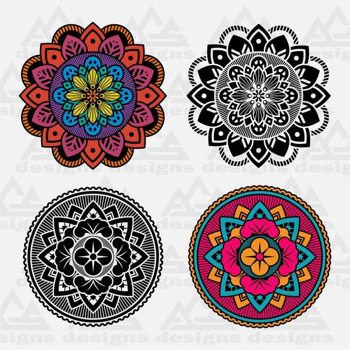 Mandala Svg Png Dxf & Eps Designs Cameo File Silhouette