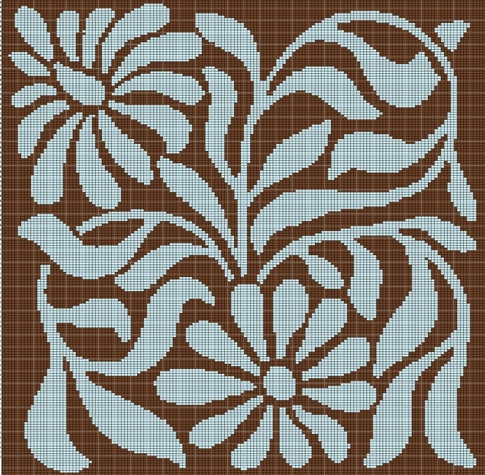 BLUE AND BROWN FLOWERS TAPESTRY STYLE CROCHET AFGHAN PATTERN GRAPH