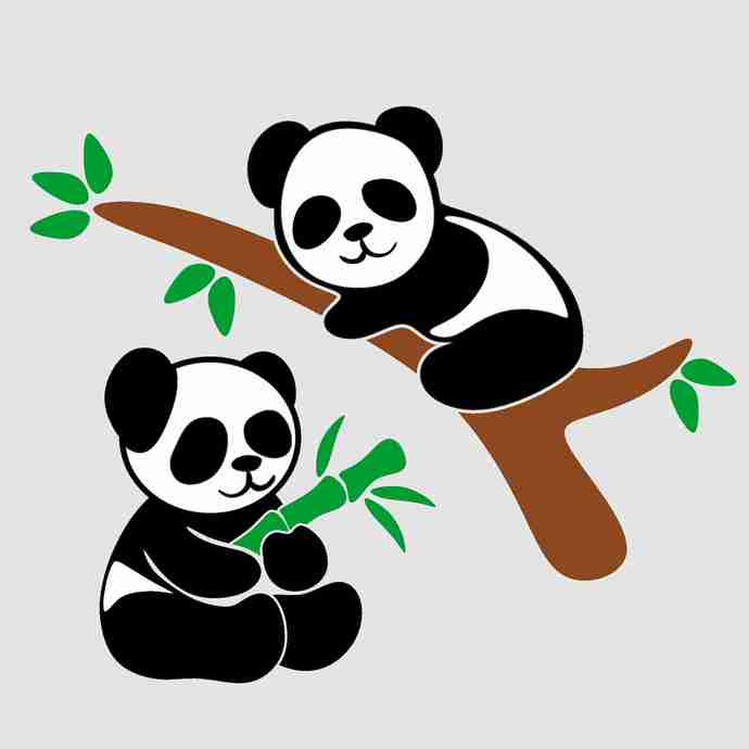 Cute Panda Svg Png Dxf & Eps Designs Cameo File Silhouette