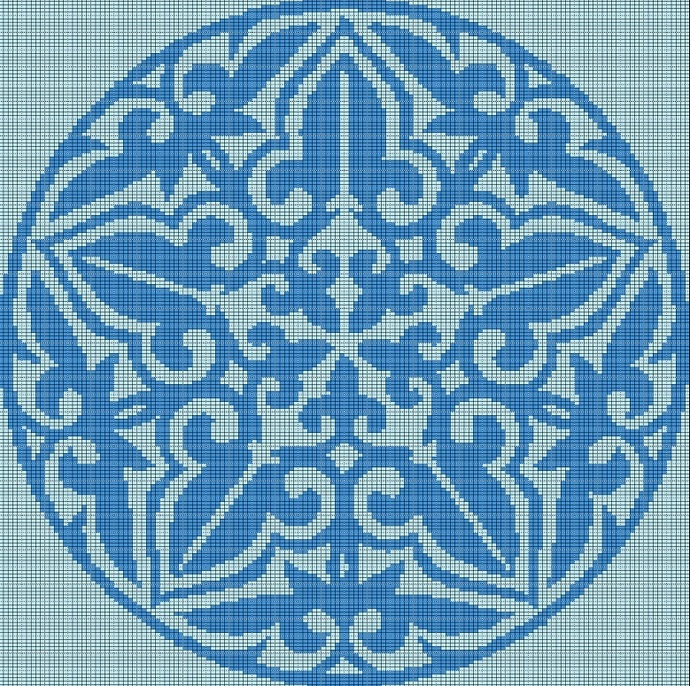 BLUE MOSAIC TAPESTRY STYLE CROCHET AFGHAN PATTERN GRAPH