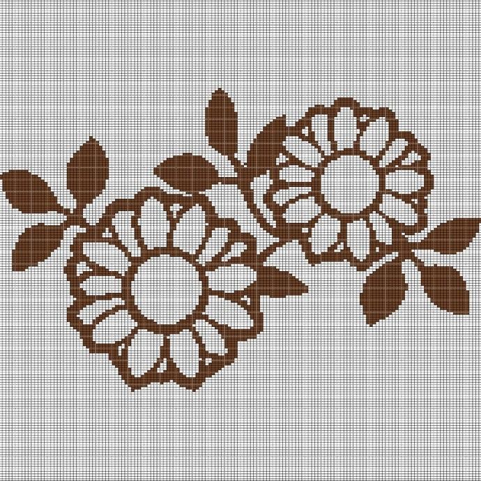 BROWN FLOWERS CROCHET AFGHAN PATTERN GRAPH