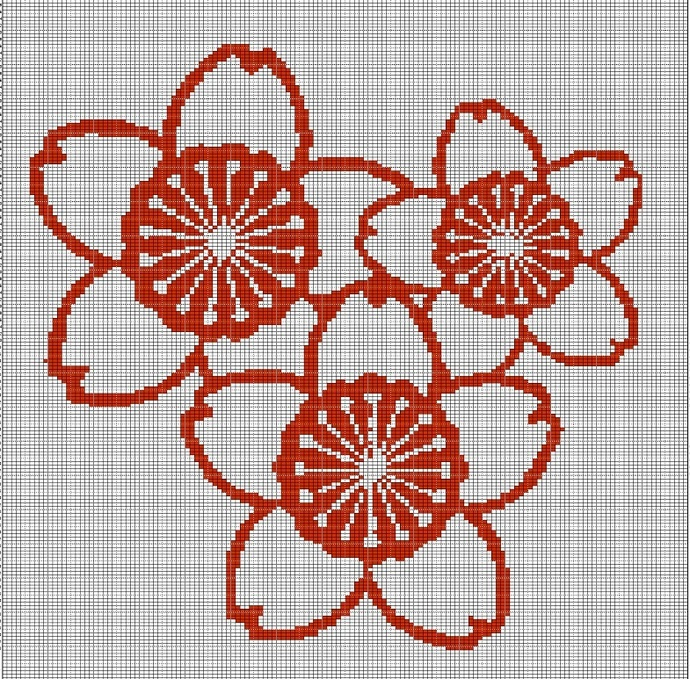 CHERRY BLOSSOM TAPESTRY STYLE CROCHET AFGHAN PATTERN GRAPH