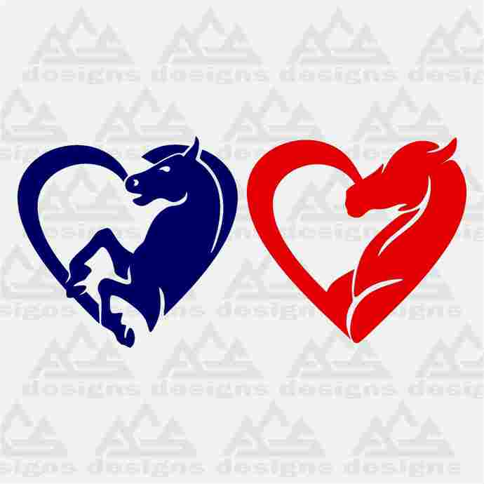Horse Love Heart Decal Svg Png Dxf & Eps Designs Cameo File Silhouette