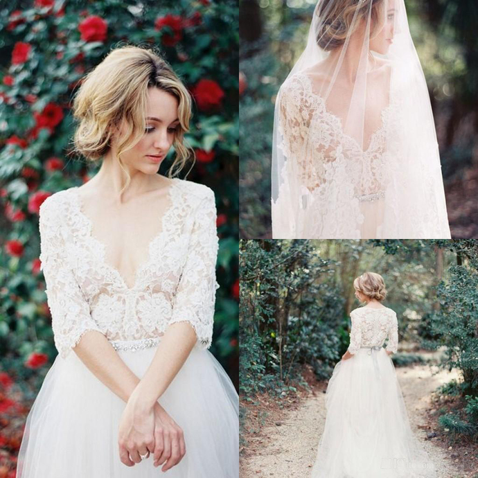 Sexy Country Lace Wedding Dresses Sheer Lace Sexy Deep V Neck 1 2 Sleeves Floor Length Tulle Beach Wedding Gowns Pregnant Dresses