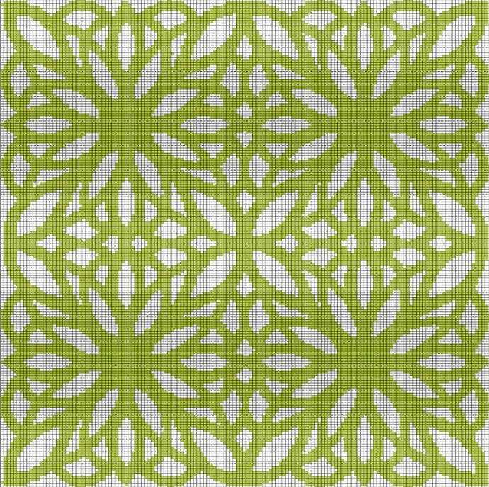 GREEN FLOWER MOSIAC TAPESTRY STYLE CROCHET AFGHAN PATTERN GRAPH